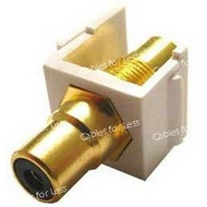 Keystone Connector White-Jack With Black-RCA - Gold Plated
