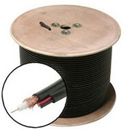 RG59 + 18AWG-2 Bulk CCTV Cable, 500 Foot Roll - Black