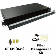 24 Port Singlemode ST Simplex 1U Sliding Patch Panel w/ Fiber Management Kit