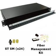 24 Port Singlemode ST Simplex 1U Sliding Patch Panel w/ Fiber Management Kit