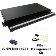 24 Port Singlemode LC Duplex 1U Sliding Patch Panel w/ Fiber Management Kit
