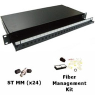 24 Port Multimode ST Simplex 1U Sliding Patch Panel w/ Fiber Management Kit