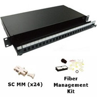 24 Port Multimode SC Simplex 1U Sliding Patch Panel w/ Fiber Management Kit
