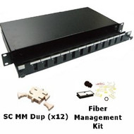 12 Port Multimode SC Duplex 1U Sliding Patch Panel w/ Fiber Management Kit
