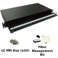 24 Port Multimode LC Duplex 1U Sliding Patch Panel w/ Fiber Management Kit