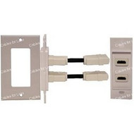 HDMI Dual Wall Plate, With Pigtail, White