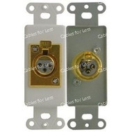High Quality XLR Female Wallplate - Decorative, Gold Plated, Solder