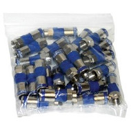 Ridgeloc 360 High Performance Compression Connector, RG6 F-Type, Blue, Bag Of 50