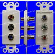 Component Triple RCA Female To Female Wall Plate, White