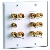 DataComm 5.1 Surround Sound 2-Gang Wall Plate White