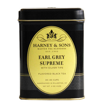 Harney & Sons Earl Grey Supreme 4 oz loose tea tin.
