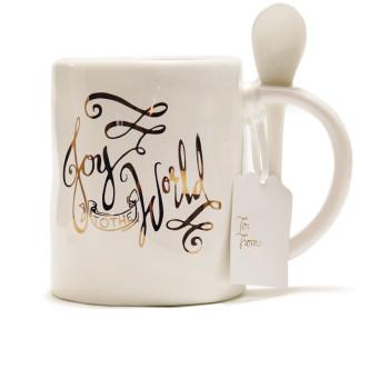 Joy to The World Holiday Mug with Spoon