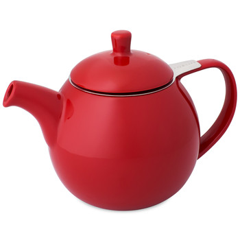 Red Ceramic Curve Teapot with Infuser 24 oz
