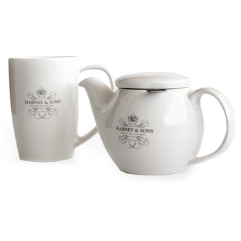 This tea set includes a 15 oz tea pot with stainless steel infuser and a 16 oz mug.