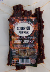 This Jerky is Made from the Trinidad Scorpion Pepper and is one of the Hottest Peppers around. is  It is made from Prime cut steak and is Featured from our Bakke Brothers Line, Thick style beef jerky with a smoky flavor spiced with a fiery accent of Trinidad Scorpion Peppers! and this one is Hot  Don't say I didn't warn you. 1.5 million Scoville