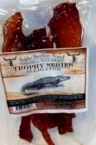 Premium Aligator Jerky from Private Ranches in Louisiana.  Get the Gator before it get you.