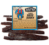 Hickory Smoked Cowboy Jerky.  This is the Old West traditional style beef jerky. Thick, prime cut beef is salt cured and then slow smoked over Oregon hardwoods. This the gold standard for beef jerky aficionados!