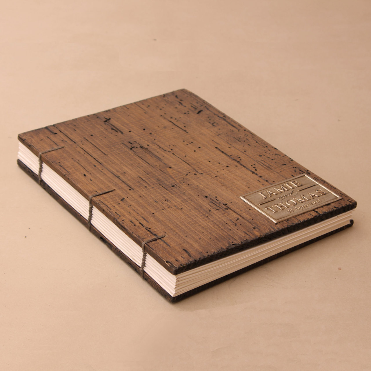 Rustic Wedding Guest Book Coptic Binding Truly Unique Personalized With Your Initials Or Names