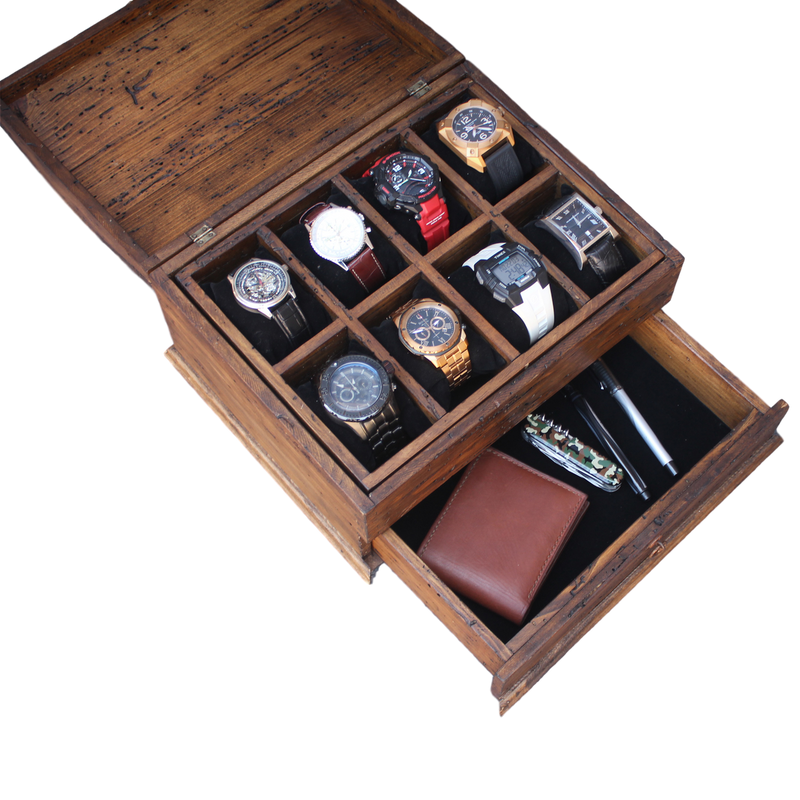 Personalized Rustic Men's Watch Box for 8 watches and drawer with Curved Top