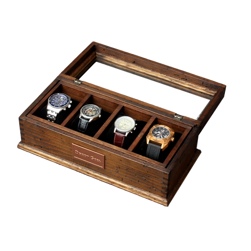 Personalized Rustic Men's Watch Box for 4 watches with small secret compartment and glass top
