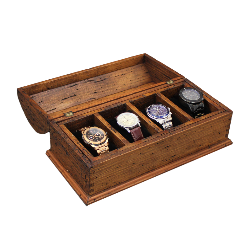 Personalized Rustic Men's Watch Box for 4 watches with small secret compartment