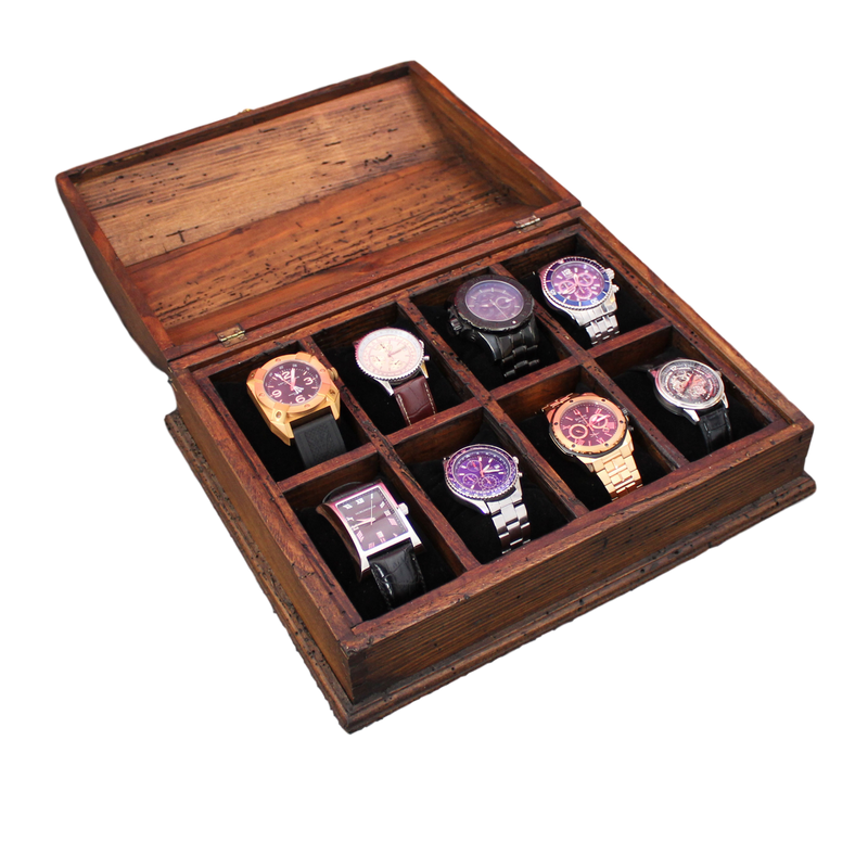 New Personalized Rustic Men's Watch Box for 8 watches - Curved Top