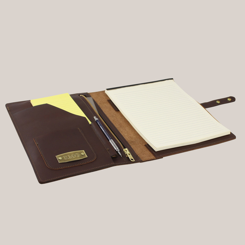 Leather Portfolio with Zipper Pocket
