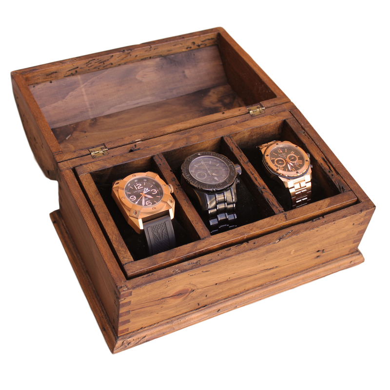 Personalized Rustic Men's Watch Box for 3 watches and secret compartment