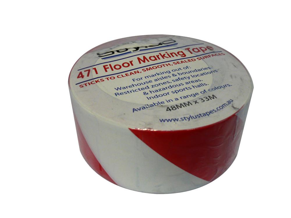 48mm 471 Floor Marking Tape 33mtr roll RED/WHT