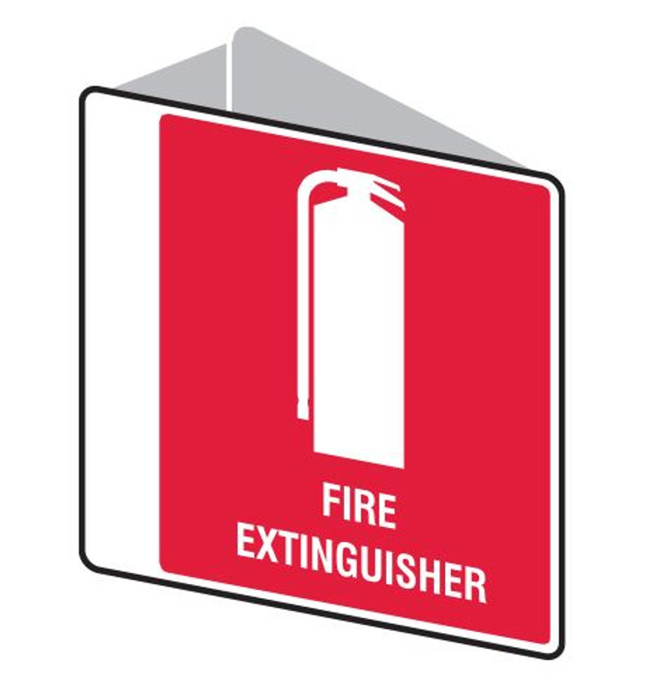 FIRE EXTINGUISHER - D/SIDED ' V ' POLY 225x225