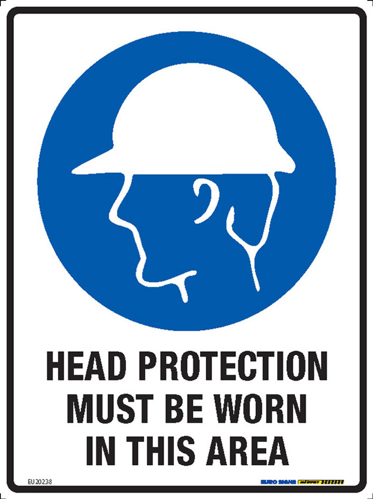 HEAD PROTECT MUST BE WORN IN THIS AREA 225x300 POLY