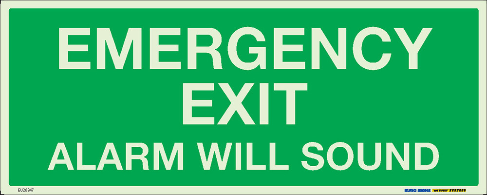 EMERGENCY EXIT ALARM SOUND 450x180 LUM. DECAL