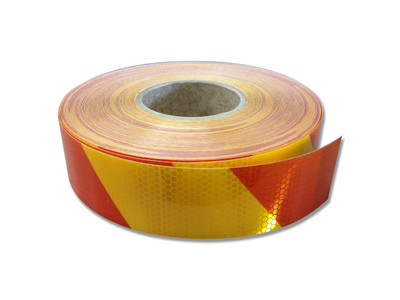 50mm Class 1 Reflective Tape YEL/RED STRIPED 45.7 m ROLL