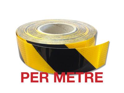 50mm Class 1 Reflective Tape BLACK/YELLOW STRIPED - PER METRE