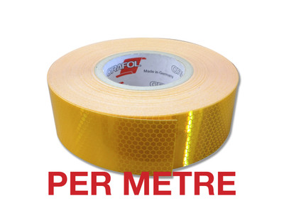 50mm Class 1 Reflective Tape YELLOW - PER METRE