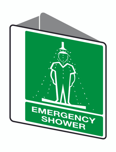EMERGENCY SHOWER - D/SIDED ' V ' POLY 225x225