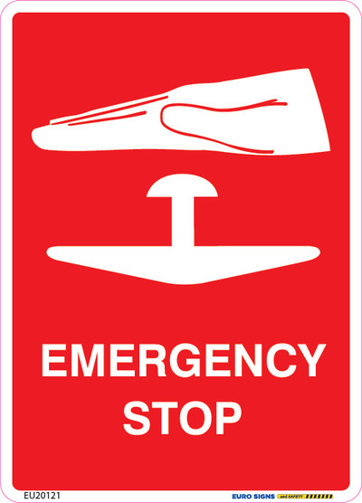 EMERGENCY STOP (+PIC) 90x125 DECAL