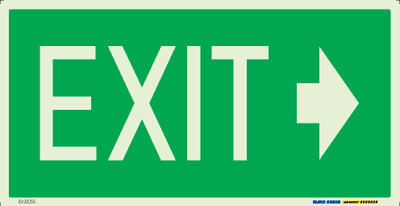 EXIT >> 350x180 LUMINOUS METAL (ARROW RIGHT)