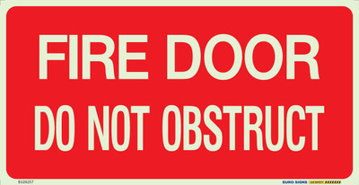 FIRE DOOR DO NOT OBSTRUCT 350x180 Luminous Decal