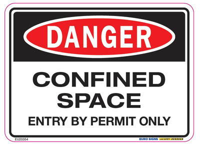 DANGER CONFINED SPACE ENTRY BY PERMIT ONLY 125x90 DECAL