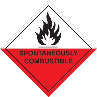 Class Label SPONTANEOUSLY COMBUSTIBLE 4 150x150 DECAL