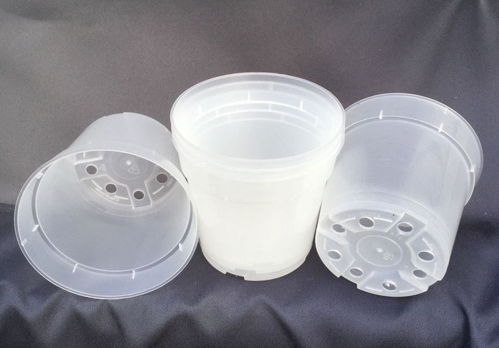 "Clear Plastic 4"" Round Pots"