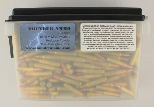 223 55gr V-Max Crimped New Remington Brass 500 Rounds