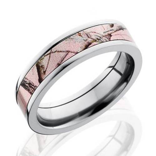 Flat Profile Realtree AP Pink Wedding Ring Image