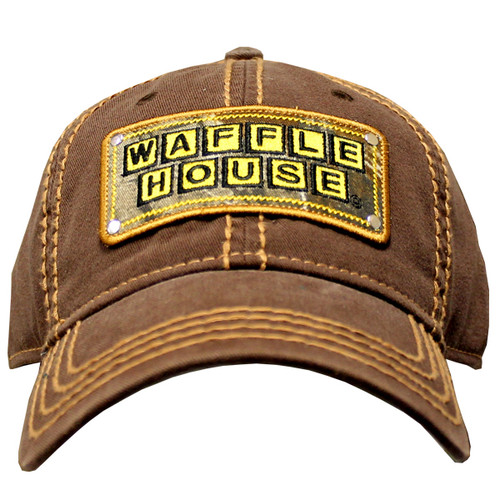 Waffle House Top Stitch Brown Cap Front