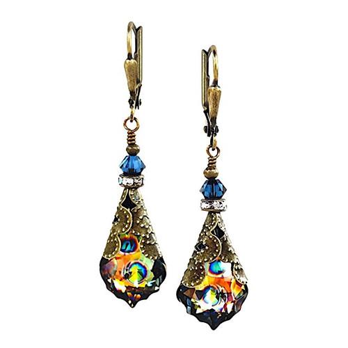 Peacock Eye Crystal Baroque Vintage Inspired Earrings