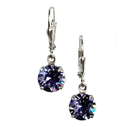 Violet Blue Round Stone Chaton Earrings adorned with Crystals from Swarovski