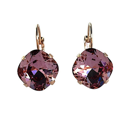 Cushion Cut Large Square Stone Crystal Earrings
