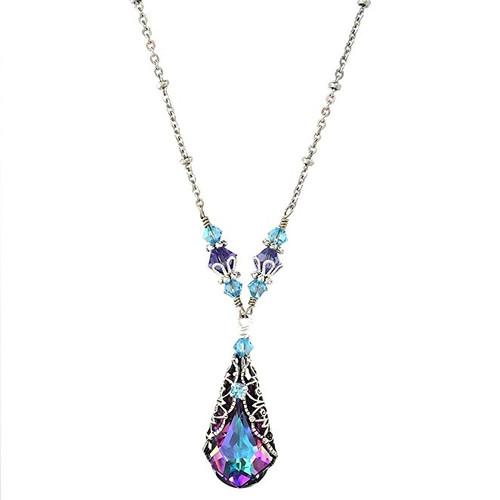 Vitrail Light Teardrop Pendant Filigree Necklace made with Crystal from Swarovski