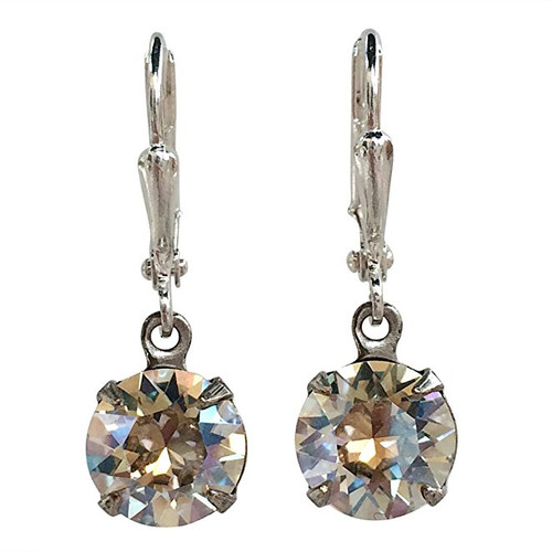 Bridal Crystal Moonlight Round Stone Chaton Silver-Tone Earrings